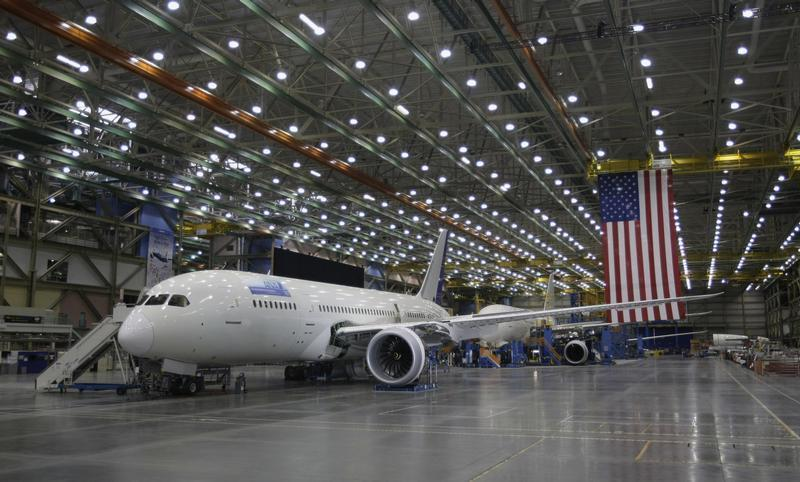 Boeing 787 Dreamliner aircraft are pictured on the production line at the Boeing facility in Everett