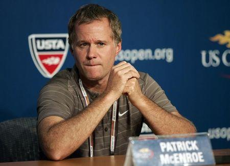U.S. Davis Cup captain Patrick McEnroe talks during a news conference at the U.S. Open tennis tournament in Flushing Meadows in New York