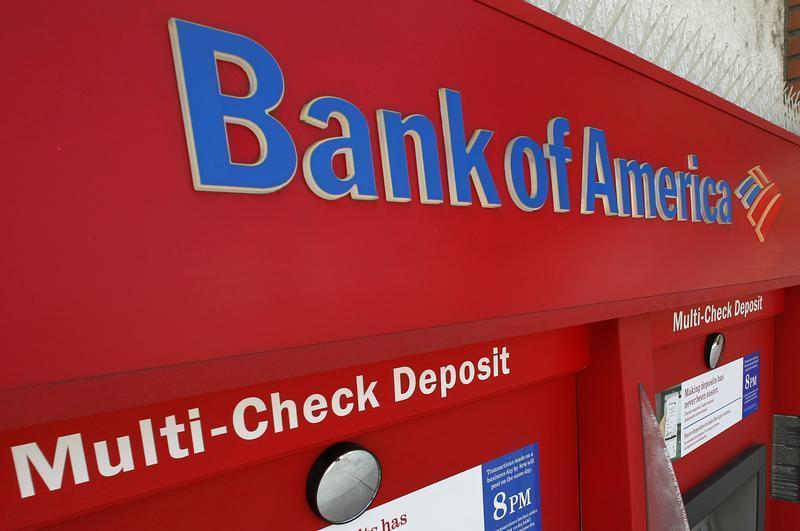 An ATM machine at a Bank of America office is pictured in Burbank