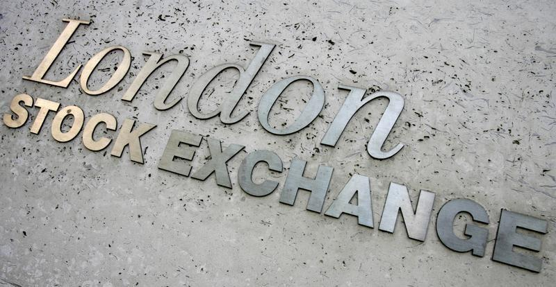 Signage is seen on the London Stock Exchange building in central London