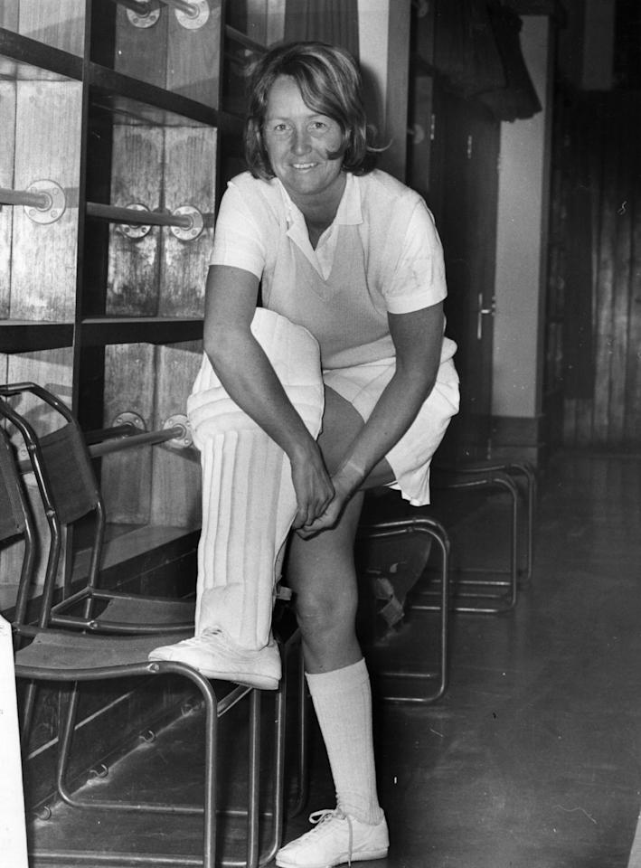 [ICCWWC2013] Rachel Heyhoe-Flint, the British female cricket player getting ready for a game.  Original Publication: People Disc - HE0076   (Photo by Keystone/Getty Images)