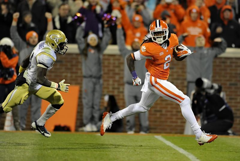 In this Nov. 14, 2013, file photo, Clemson wide receiver Sammy Watkins races in for a 44-yard touchdown while being pursued by Georgia Tech's Jemea Thomas during the second half of an NCAA college football game in Clemson, S.C. Watkins is Clemson's career leader in receptions (240) and yards receiving (3,391). He is a top prospect in the upcoming NFL draft