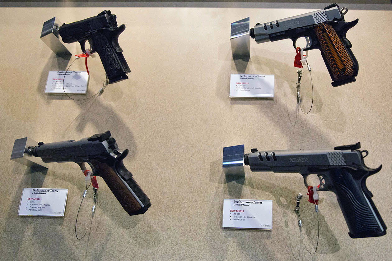 Several of Smith & Wesson new product pistols are displayed at the 35th annual SHOT Show.