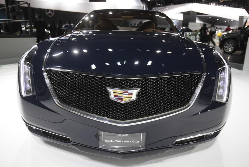 The grille of the Cadillac Elmiraj concept car as the vehicle is displayed during the press preview day of the North American International Auto Show in Detroit