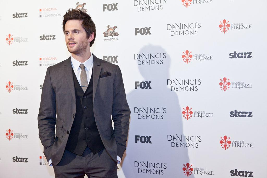 "Tom Riley (Leonardo Da Vinci) attends the world premiere screening of ""Da Vinci's Demons"" at the Cinema Teatro Odeonin Florence, Italy on April 2."
