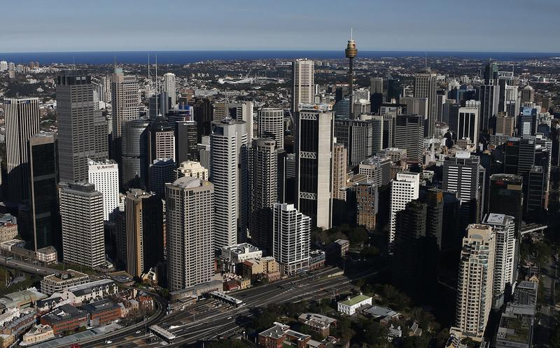 The Central Business District is seen from the air on a sunny winter afternoon in Sydney