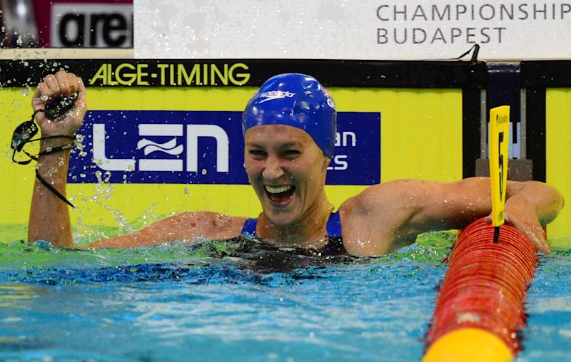Great Britain's Jazmin Carlin celebrates winning the women's 800m Freestyle final of the 32nd LEN European Swimming Championships on August 21, 2014 in Berlin