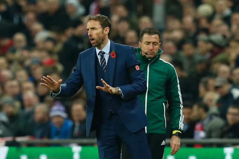 England's Interim manager Gareth Southgate gestures during a World Cup 2018 qualification match between England and Scotland at Wembley stadium in London on November 11, 2016