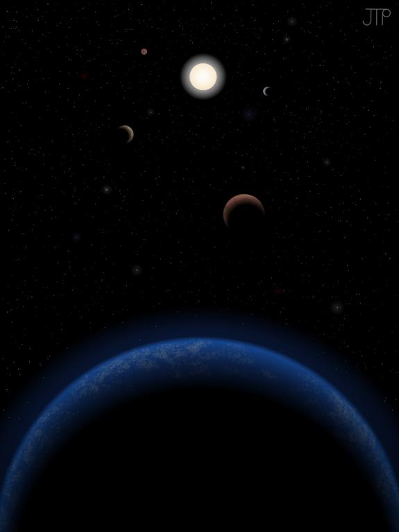 Artist's impression of five possible planets orbiting the star Tau Ceti, which is just 11.9 light-years from Earth.