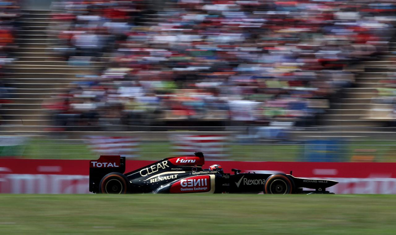 Lotus' Kimi Raikkonen during the Spainish Grand Prix at the Circuit de Catalunya, Barcelona, Spain.