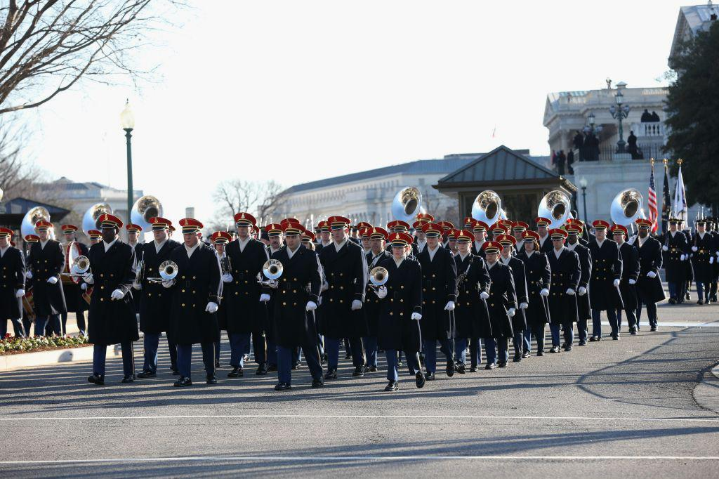 A band prepares to lead President Barack Obama's inaugural parade on Capitol Hill in Washington, Monday, Jan. 21, 2013, after the president's ceremonial swearing-in ceremony during the 57th Presidential Inauguration. (AP Photo/New York Times, Doug Mills, Pool)