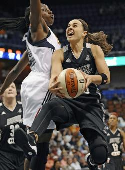 Becky Hammon (right) is retiring from the WNBA at the end of this season. (AP)