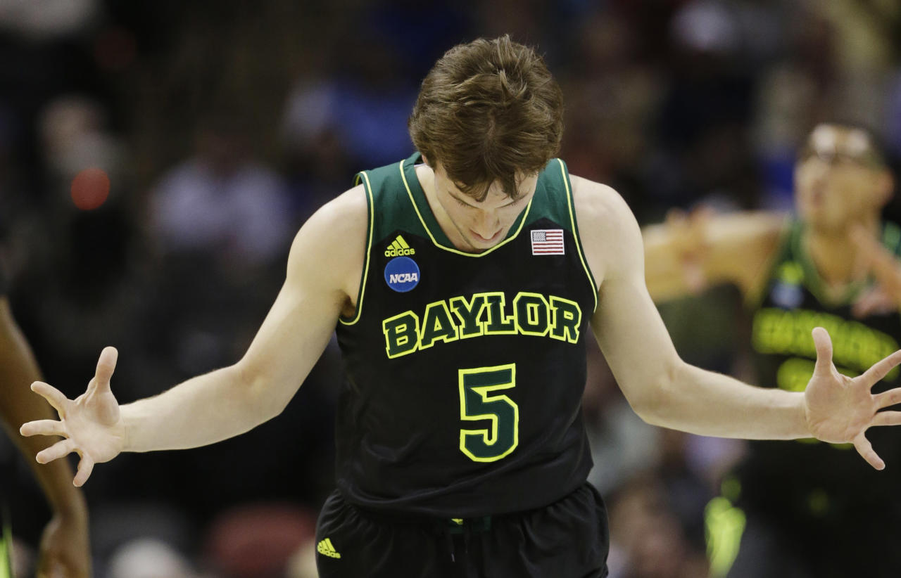 Baylor guard Brady Heslip reacts against Creighton during the first half of a third-round game in the NCAA college basketball tournament Sunday, March 23, 2014, in San Antonio. (AP Photo/David J. Phillip)