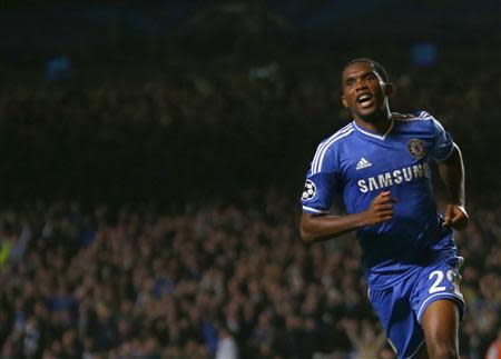 Chelsea's Eto'o celebrates after scoring a goal against FC Schalke 04 during their Champions League soccer match at Stamford Bridge in London