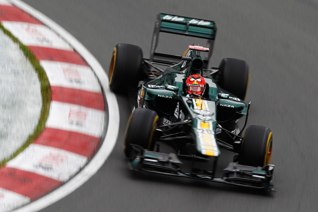 MONTREAL, CANADA - JUNE 08:  Heikki Kovalainen of Finland and Caterham drives during practice for the Canadian Formula One Grand Prix at the Circuit Gilles Villeneuve on June 8, 2012 in Montreal, Canada.  (Photo by Paul Gilham/Getty Images)