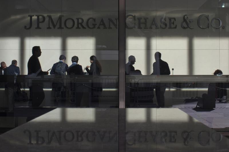 The lobby of JP Morgan headquarters is photographed through it's front doors in New York