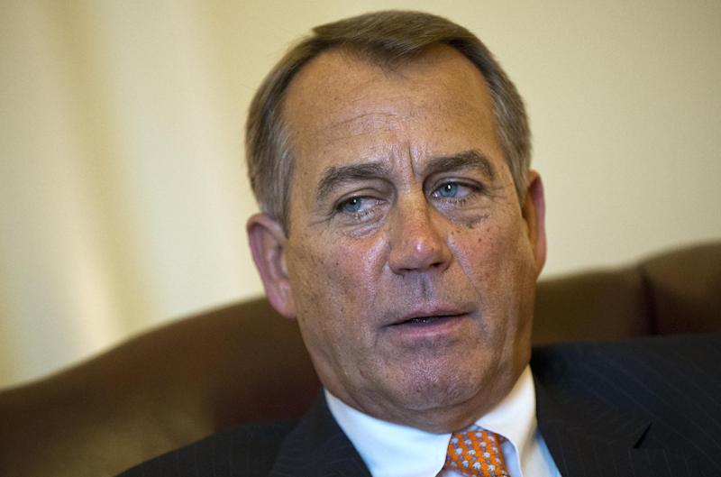 FILE - In this Feb. 13, 2013 file photo, House Speaker John Boehner of Ohio is interviewed by The Associated Press in his Capitol Hill office in Washington.  President Barack Obama and congressional Republicans each seem content with the political ground they hold and are prepared to let across-the-board spending cuts take effect on March 1, unlike during earlier rounds of budget brinkmanship that saw last minute frantic dealmaking. This time, there is no market-rattling threat of a US. default to force the two sides to compromise, no government shutdown on the short-term horizon and no year-end deadline to prevent a tax increase for every working American.  (AP Photo/J. Scott Applewhite, File)