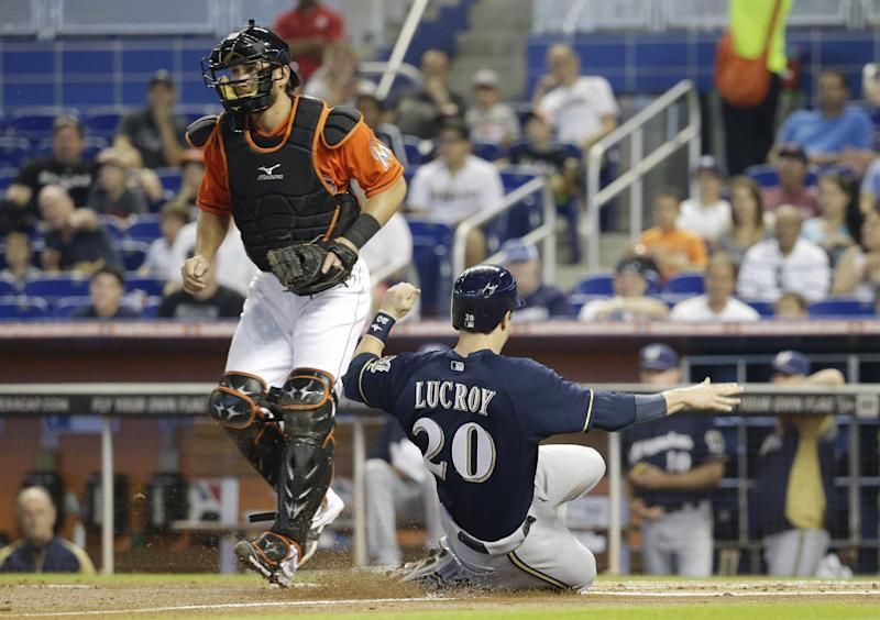 Newcomer pitches Brewers past Miami 7-1