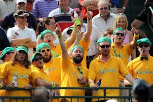 International team fans cheer on the first tee during the Presidents Cup. (USA Today)
