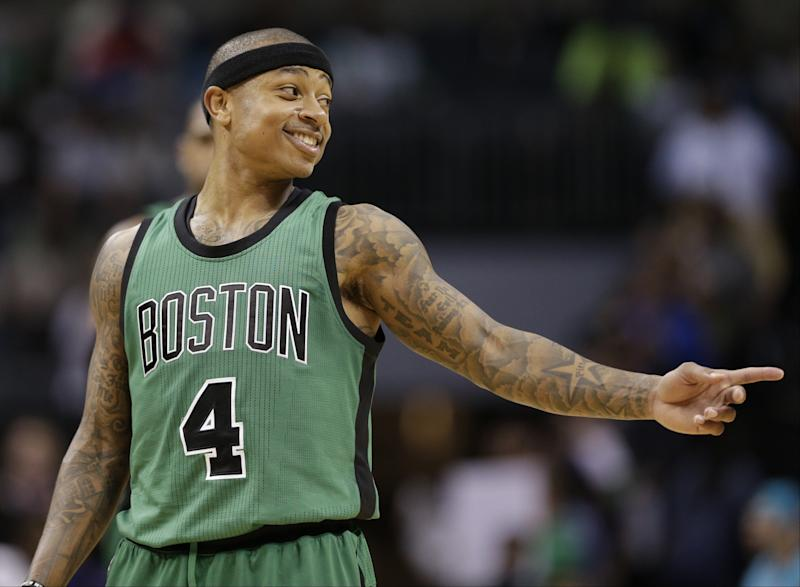 Isaiah Thomas and the Celtics have plenty to smile about as they head into the postseason. (AP)