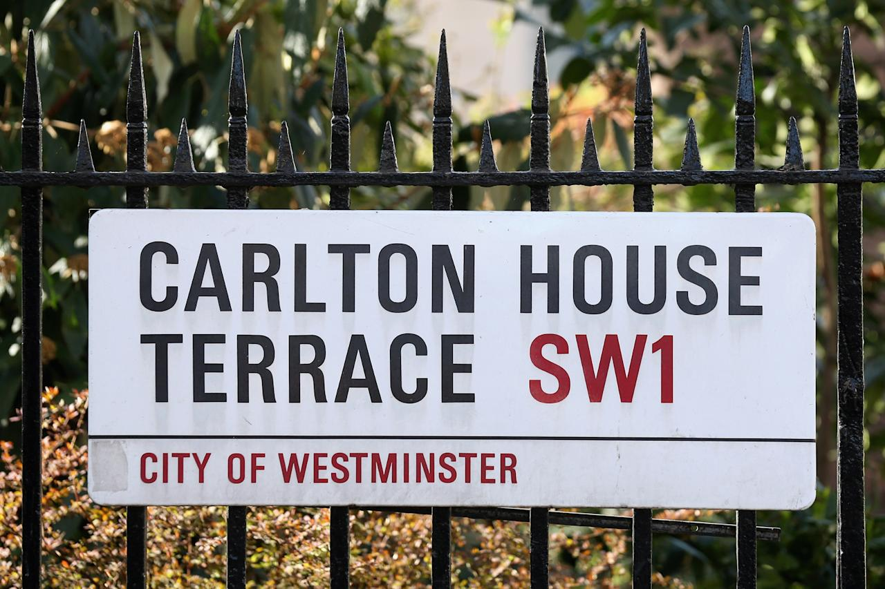 LONDON, ENGLAND - APRIL 23:  The street sign for Carlton House Terrace is displayed on April 23, 2013 in London, England. It is understood that 18 Carlton House Terrace is being placed on the housing market with an expected price of 250 million GBP. The Grade I listed Regency mansion, which is a short distance from Trafalgar Square, has six floors and 50,000 sq ft of living space.  (Photo by Oli Scarff/Getty Images)