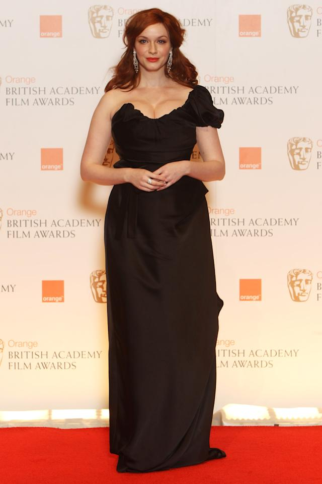 LONDON, ENGLAND - FEBRUARY 12:  (UK TABLOID NEWSPAPERS OUT) Christina Hendricks poses in the press room at The Orange British Academy Film Awards 2012 at The Royal Opera House on February 12, 2012 in London, England.  (Photo by Dave Hogan/Getty Images)