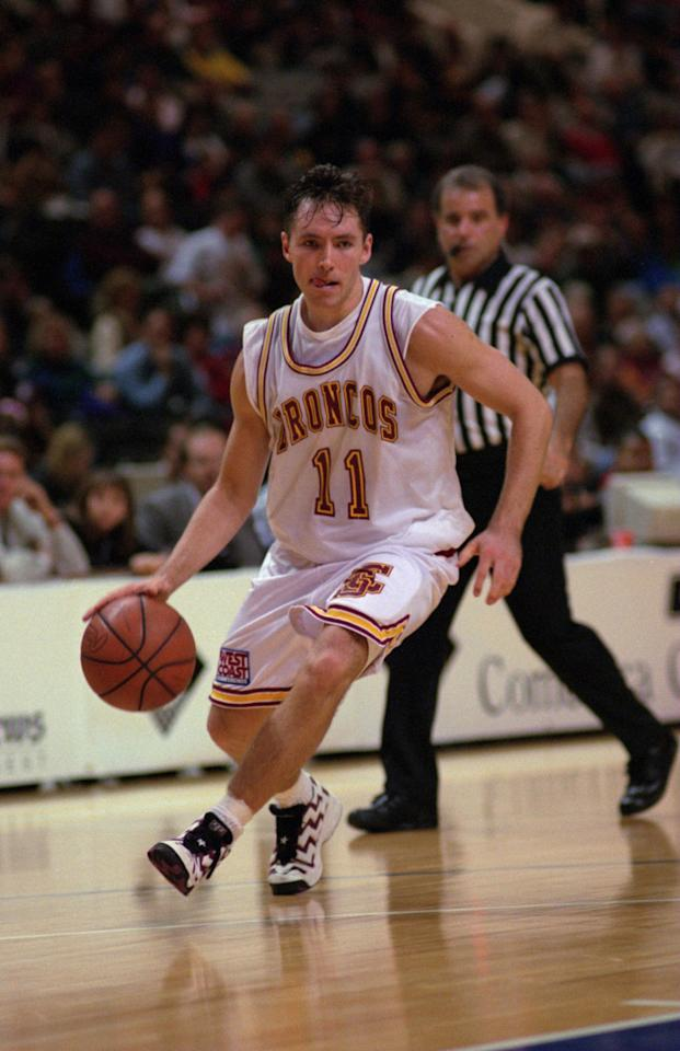 Steve Nash of Santa Clara University dribbles up court during a loss at San Jose Arena in San Jose, California. Mandatory Credit: Otto Greule/ALLSPORT