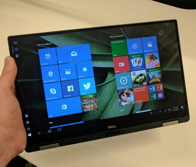 The Dell XPS 13 2-in-1 in tablet mode.