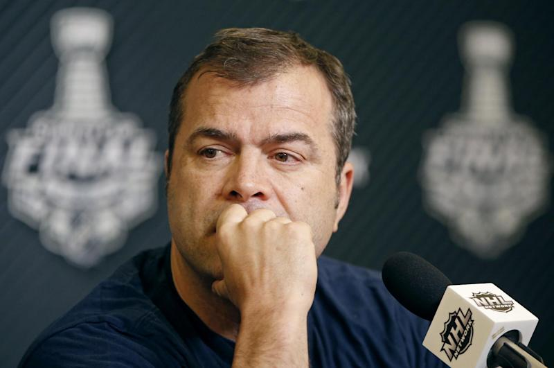 Rangers coach Alain Vigneault listens to a reporter's question during a Stanley Cup press conference in New York on Tuesday, June 10, 2014. The Kings have a 3-0 series lead. (AP)