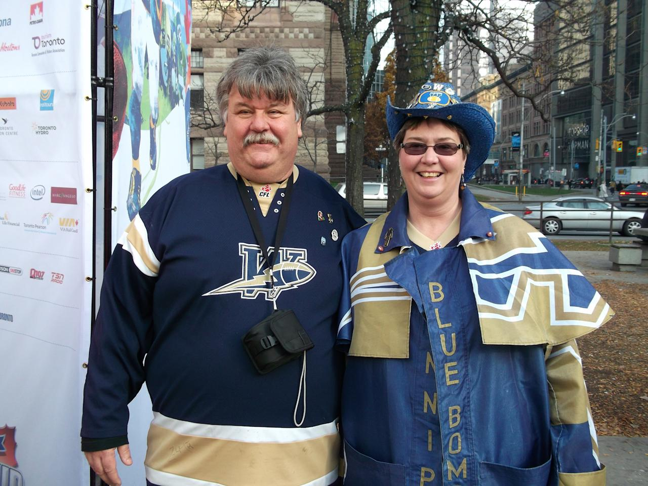 Winnipeg Blue Bombers fans show their spirit at Nathan Phillips Square, Toronto