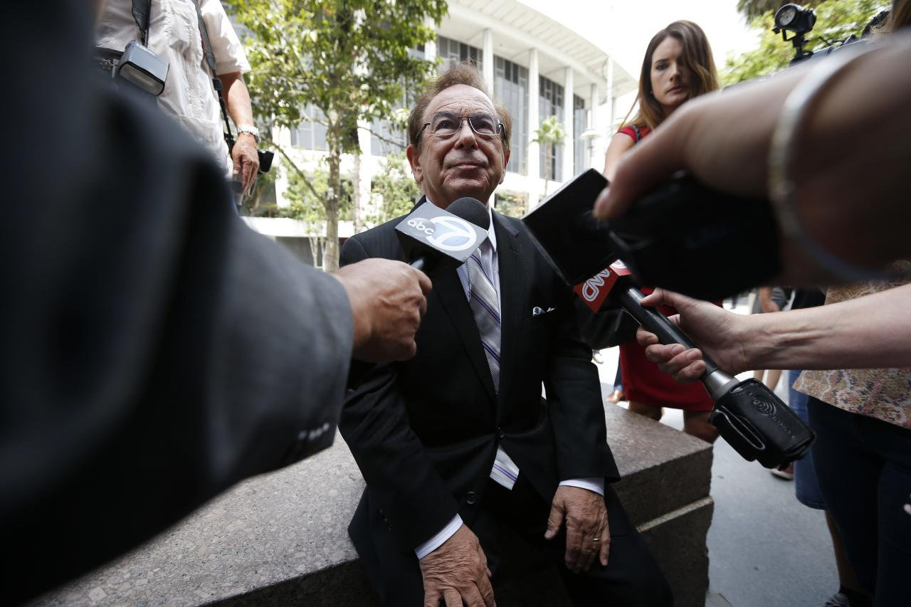 Max Blecher, lawyer for Donald Sterling, is interviewed outside court in Los Angeles, California July 28, 2014. Los Angeles Superior Court judge Michael Levanas said he will rule Monday afternoon on whether club owner Donald Sterling can halt the $2 billion sale of the NBA's Los Angeles Clippers. Sterling's estranged wife, Shelly Sterling, has asked Levanas to confirm her having the authority to sell the team to former Microsoft CEO Steve Ballmer in the wake of racist remarks that Donald Sterling made. REUTERS/Lucy Nicholson (UNITED STATES - Tags: CRIME LAW SPORT BASKETBALL BUSINESS MEDIA)