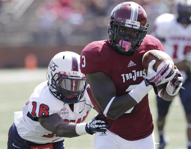 Thomas' 2 TDs lift Troy over South Alabama 34-33