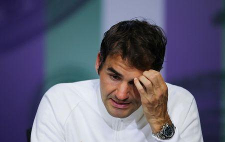 Switzerland's Roger Federer during a press conference after losing his semi final match to Canada's Milos Raonic REUTERS/Gary Hershorn/Pool