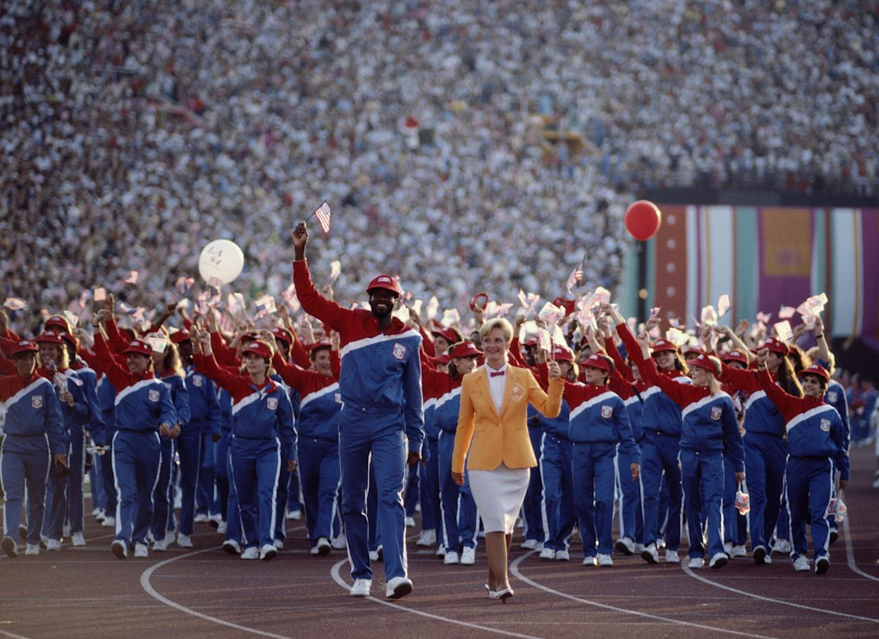 28 JUL 1984:  THE UNITED STATES OLYMPIC TEAM MARCH THROUGH THE STADIUM DURING THE OPENING CEREMONY OF THE 1984 LOS ANGELES OLYMPICS.