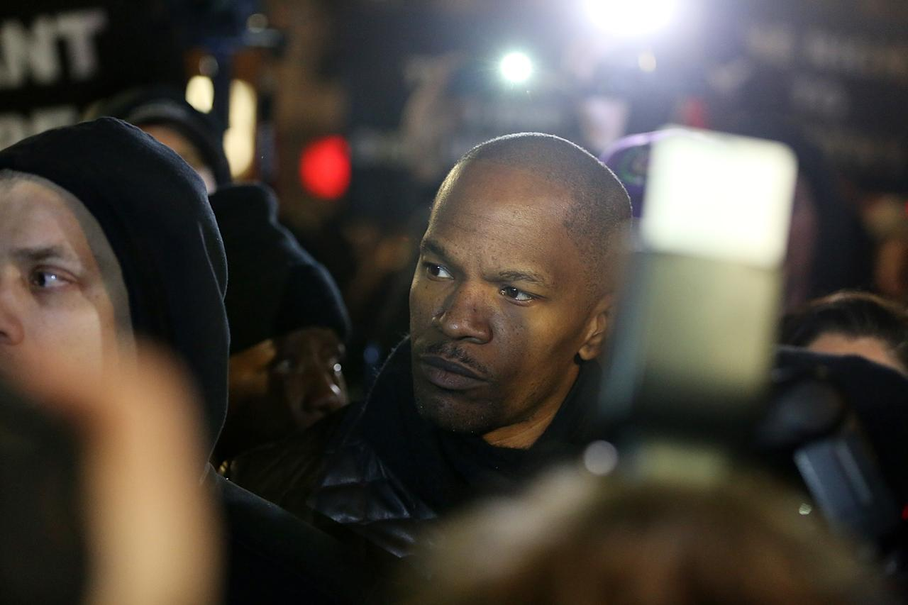 NEW YORK, NY - FEBRUARY 26:  Actor Jamie Foxx attends a candlelight vigil for Trayvon Martin in Union Square on February 26, 2013 in New York, New York.  Vigils were held in Florida and New York on the one year anniversary of teenager Trayvon Martin's shooting death by George Zimmerman in Florida.  (Photo by Mario Tama/Getty Images)