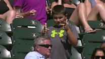 Young fan shows off his moves