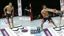 MMA fighter learns the hard way that you should never dance in the middle of a fight