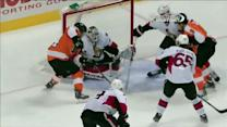 Kimmo Timonen slices into the zone to score