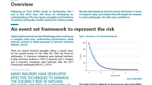 """SCOR's Technical newsletter: """"GUIDE TO EARTHQUAKES - PART III - Earthquake modelling for the (re)insurance industry"""""""