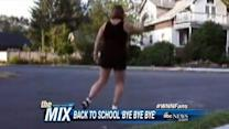 Dancing Mom Sees Kids Off to School