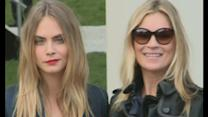 Kate Moss and Cara Delevingne arrive at Burberry