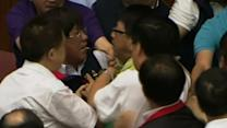 Raw: Taiwan Parliament Brawl Over Nuclear Plant