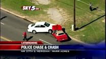 Police pursuit ends in crash near NW 37th, Meridian