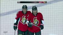 Karlsson blows a slap shot past Bishop on PP