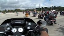 Harley fans rumble into Wisconsin for 110th anniversary