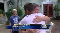 Rescuers reunite with girl they saved from drowning