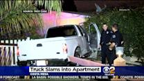Driver Flees Scene After Crashing Pickup Truck Into Costa Mesa Apartment