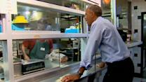 Obama eats no frills BBQ with Kansas City penpals