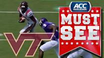 Virginia Tech's Brandon Facyson Tracks Down Popped Up Ball for Interception | ACC Must See Moment