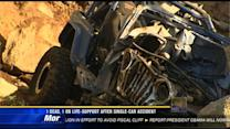 Driver killed, passenger on life-support after single-vehicle crash